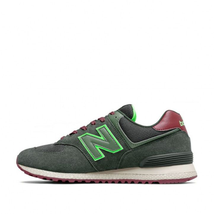 Zapatillas deportivas New Balance 574 dark olive with energy lime - Querol online