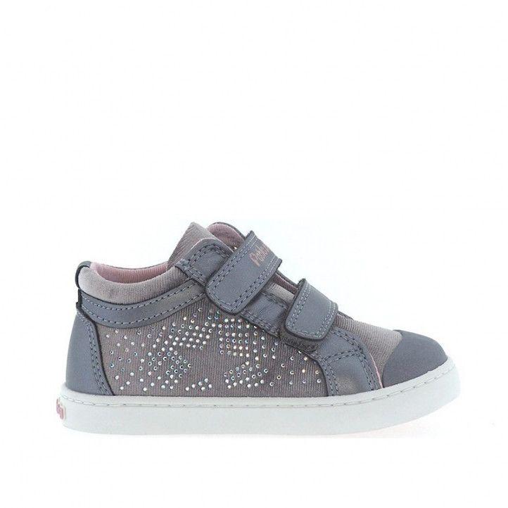 Zapatos abotinados Pablosky plateadas con doble velcro y estrella - Querol online