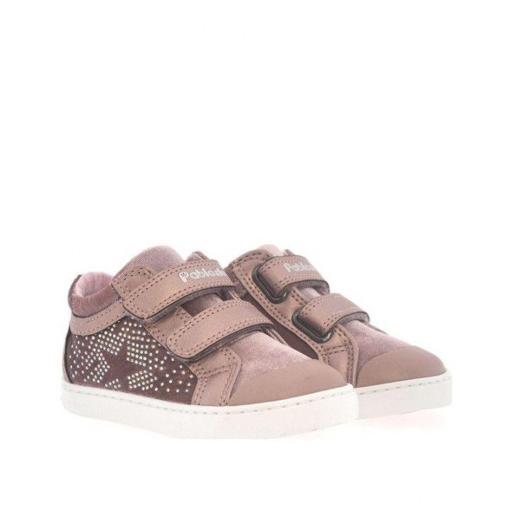 Zapatos abotinados Pablosky rosas con doble velcro y estrella - Querol online