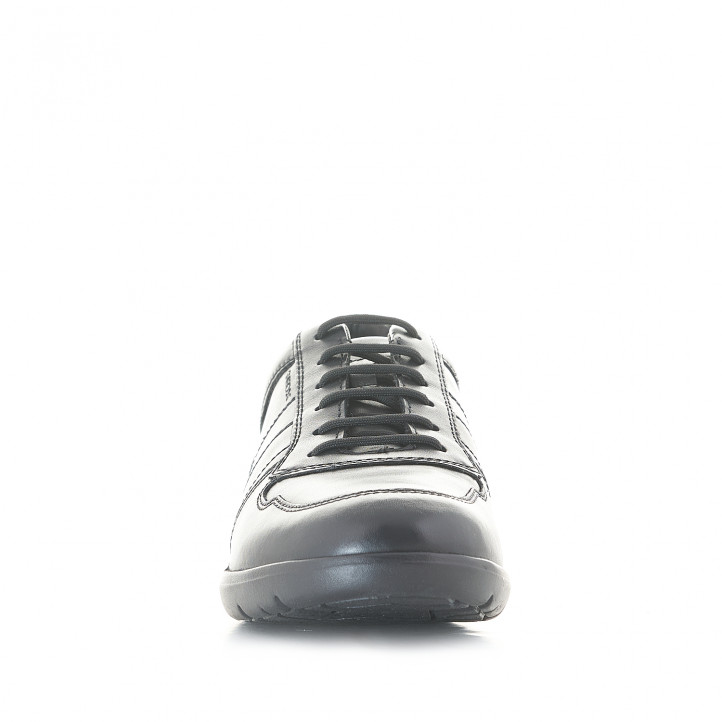 Zapatos sport Geox negras de piel con cordones - Querol online