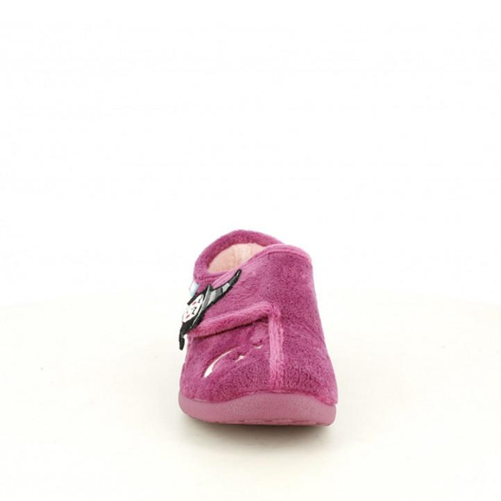 Zapatillas casa Garzon rosas con velcro y dibujo de bruja y gato - Querol online