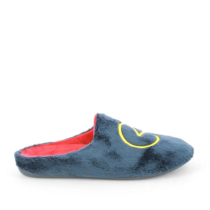 Zapatillas casa Garzon azules y rojas con dibujos pacman - Querol online