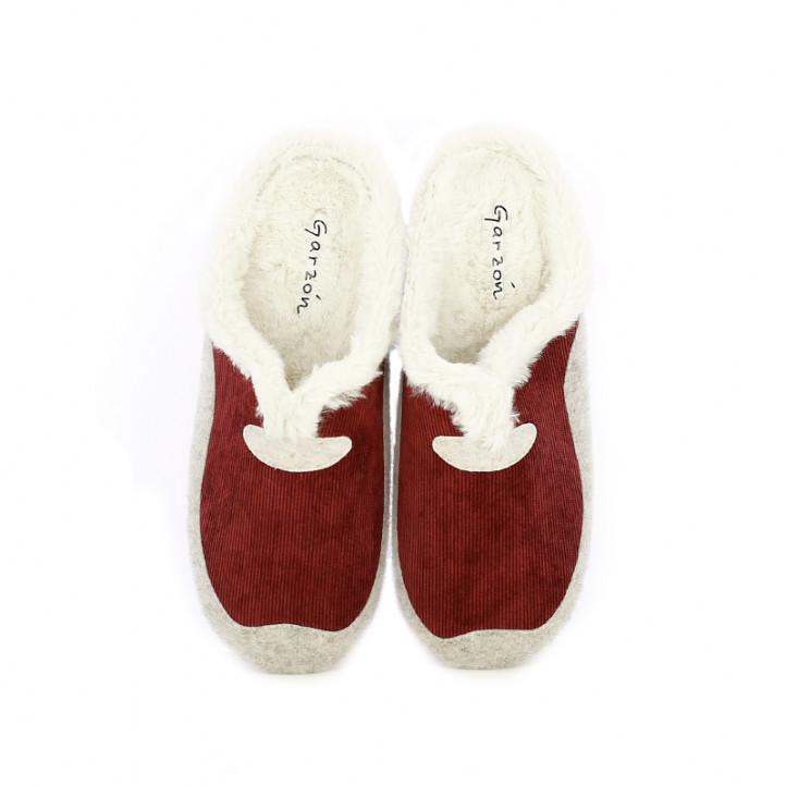 Zapatillas casa Garzon rojas, blancas y grises - Querol online