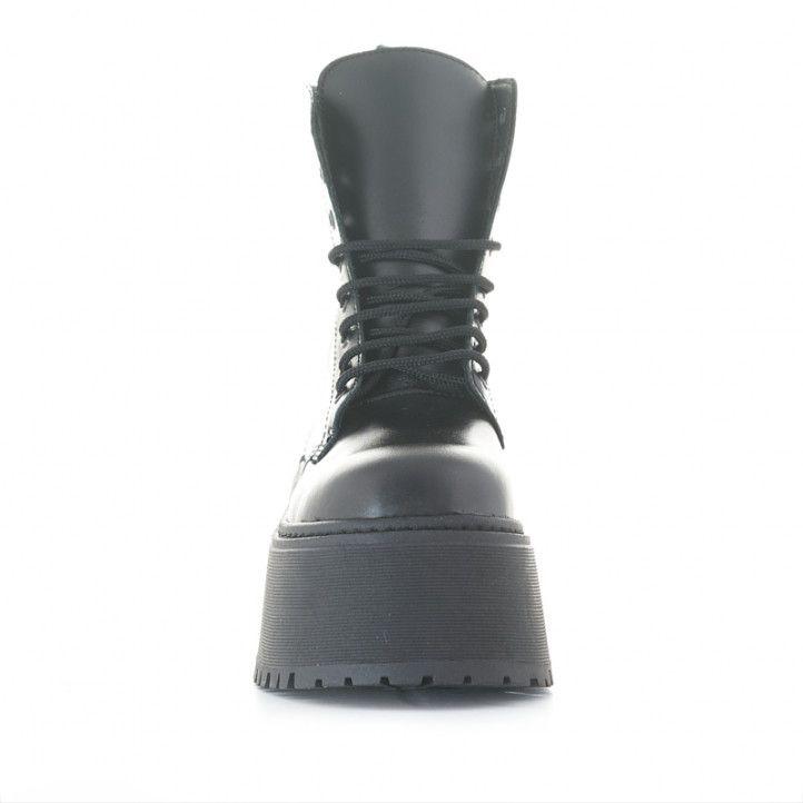 Botines plataforma Redlove catalina negros de piel con cordones y cremallera - Querol online
