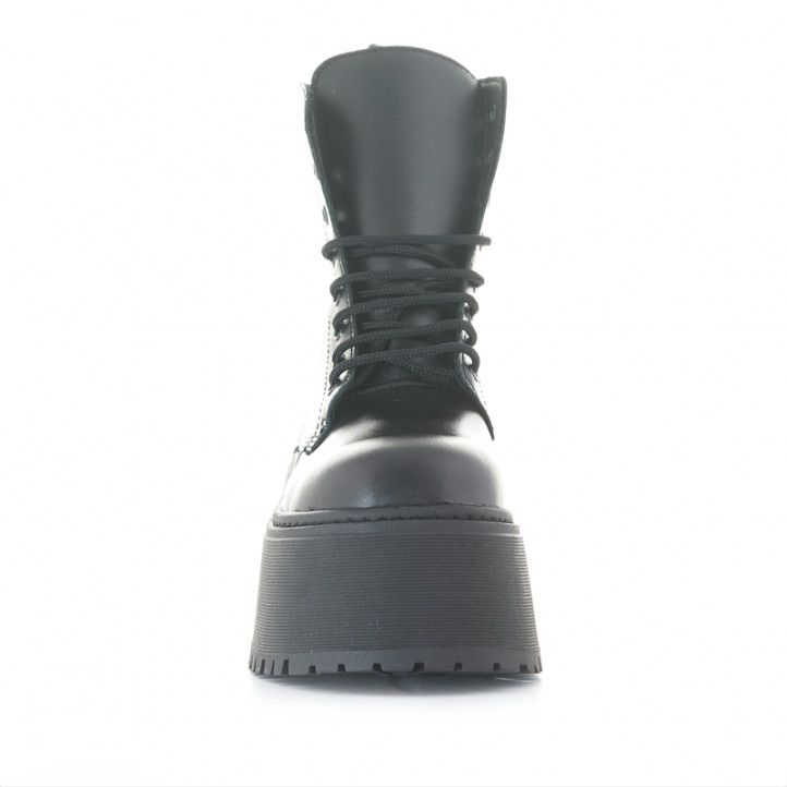 Botins plataforma Redlove catalina negres de pell amb cordons i cremallera - Querol online