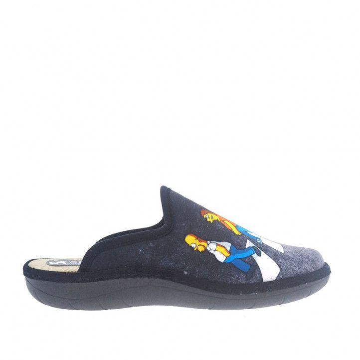 Zapatillas casa SALVI neggras con dibujo simpson - Querol online