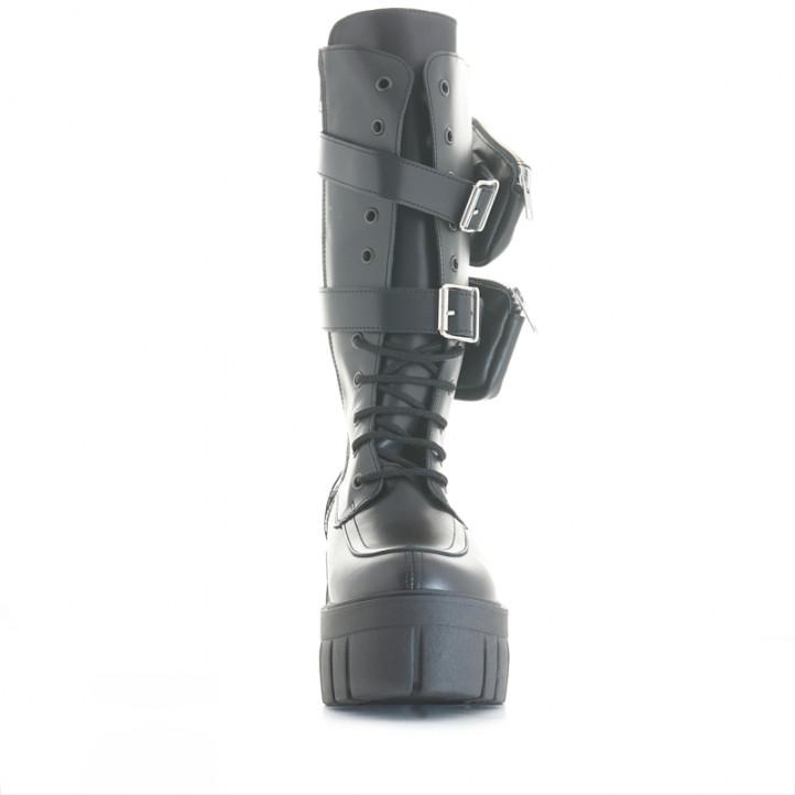 Botes de taló Redlove eleanor negres de pell amb butxaques i sola track - Querol online