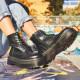Botines plataforma Owel negros con cremallera lateral y cordones - Querol online