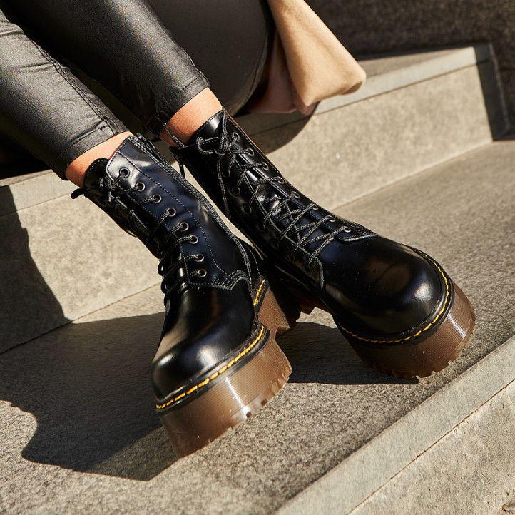 Botines plataforma Redlove negros de piel con plataforma, cordones y cremallera - Querol online