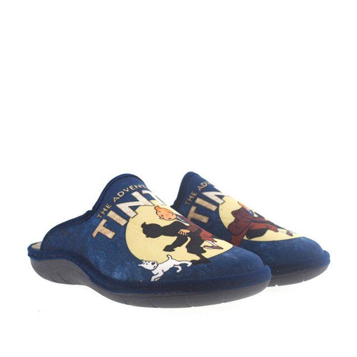 Zapatillas casa SALVI azules con dibujo tintin - Querol online