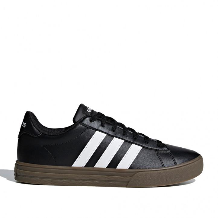 Zapatillas deportivas Adidas negras con bandas en blanco suela de goma marrón - Querol online