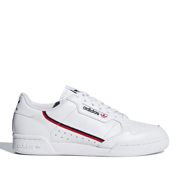Zapatillas deportivas Adidas continental 80 blancas con detalles en azul y rojo - Querol online