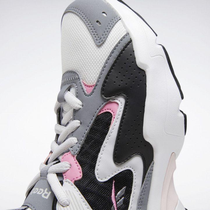 Zapatillas deportivas Reebok gris con negro y detalles en rosa royal turbo - Querol online