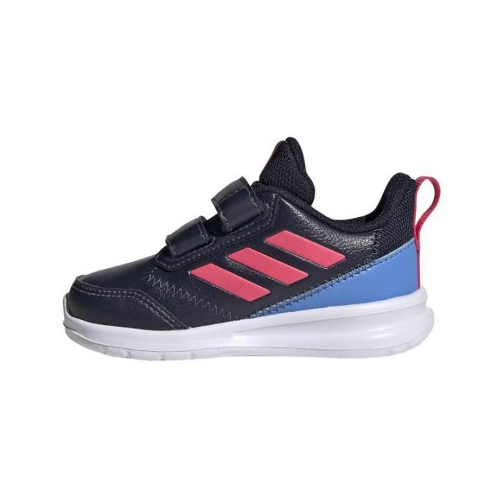 Zapatillas deporte Adidas azul marino con rayas rosas y velcros - Querol online