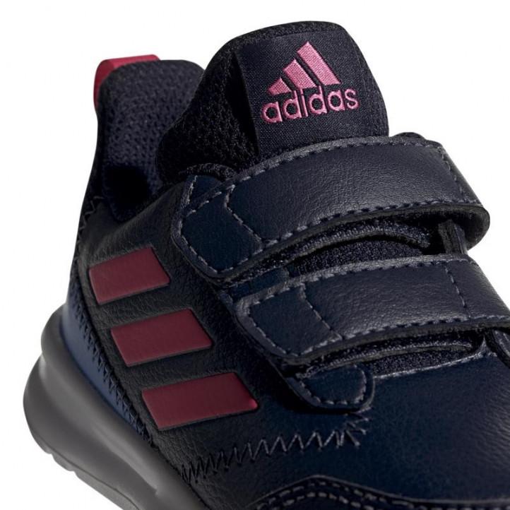 Sabatilles esport Adidas blau marí amb ratlles roses i velcros - Querol online