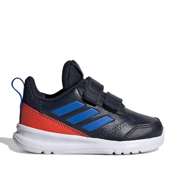 Sabatilles esport Adidas blau marí, taronja amb dos velcros - Querol online