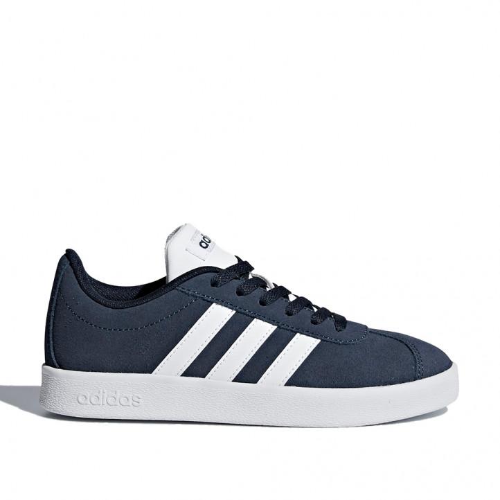 Zapatillas deporte Adidas court 2.0 azul marino de piel y cordones - Querol online