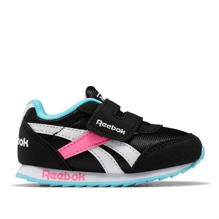 Zapatillas deporte Reebok negras con detalles en rosa azul y blanco royal - Querol online