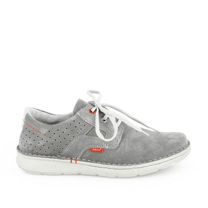 Zapatos sport Zen grises de piel con cordones y orificios - Querol online