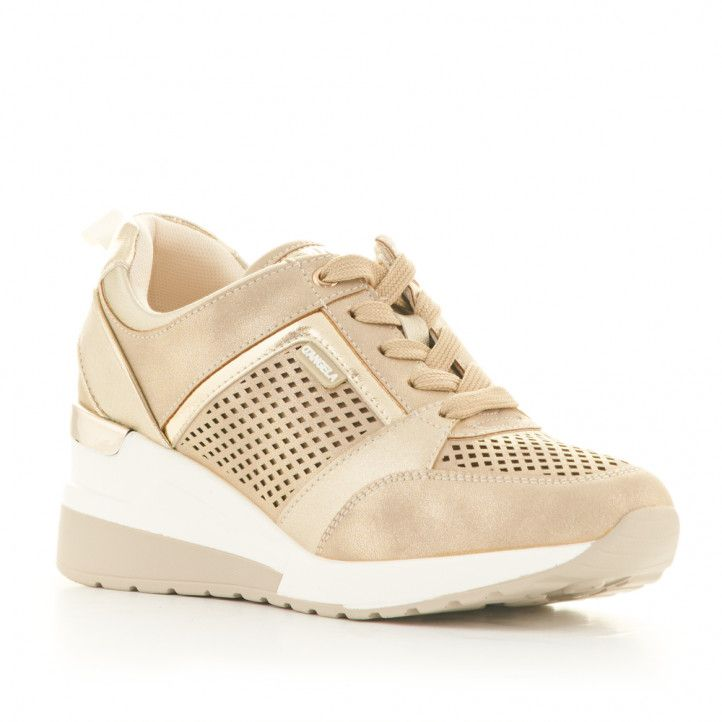 Zapatillas deportivas D'Angela de plataforma doradas metalizadas con cordones y orificios laterales - Querol online