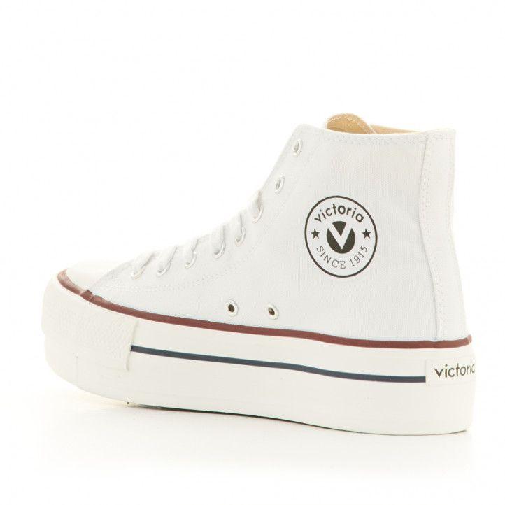 Zapatillas lona Victoria de plataforma blancas altas con cordones - Querol online