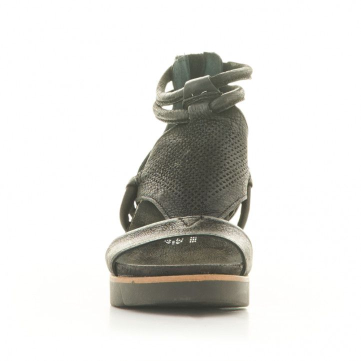 Sandàlies falca Mjus de pell negres amb cremallera - Querol online