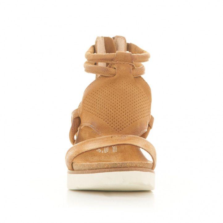 Sandàlies falca Mjus de pell marrons amb cremallera - Querol online