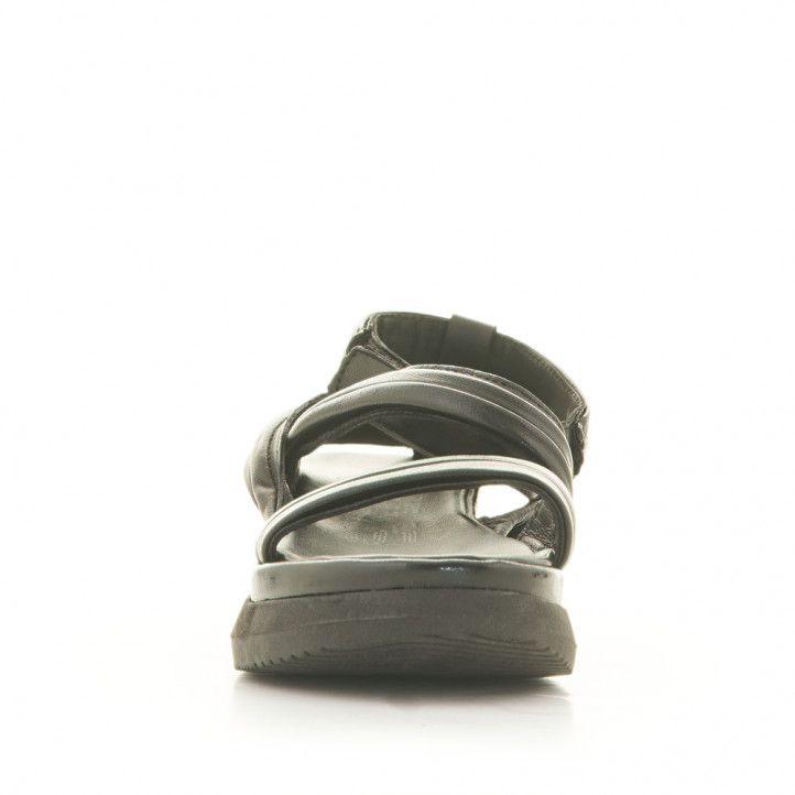Sandàlies plataformes Mjus negres de pell amb tires i ajusatdes al turmell - Querol online