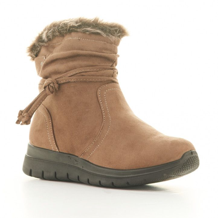 Botins plans MY SOFT marrons amb pèl interior, cremalleta lateral i tires - Querol online