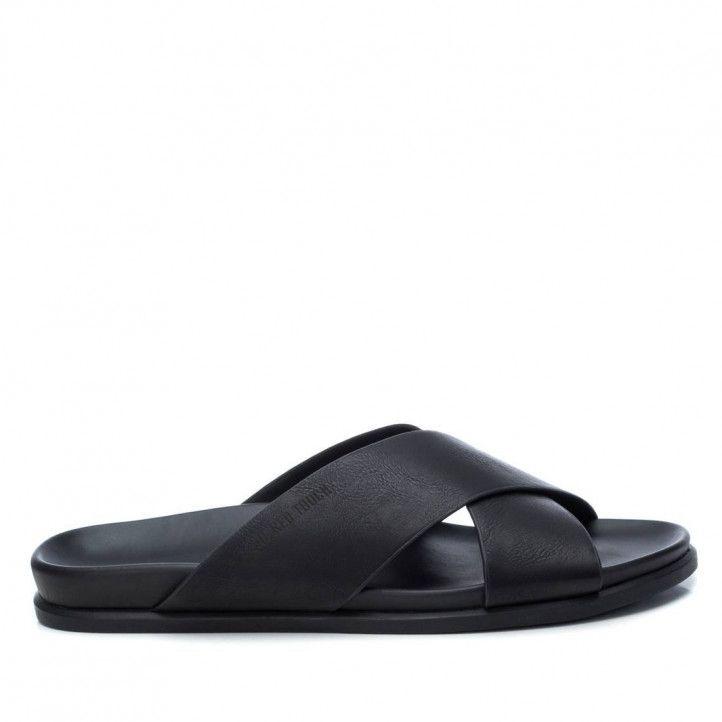 Sandalias Xti negras abiertas con dos tiras cruzadas - Querol online