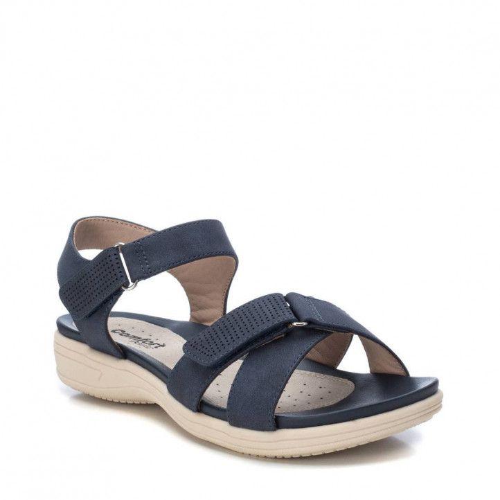 Sandàlies planes Xti blaves amb tires de velcro - Querol online