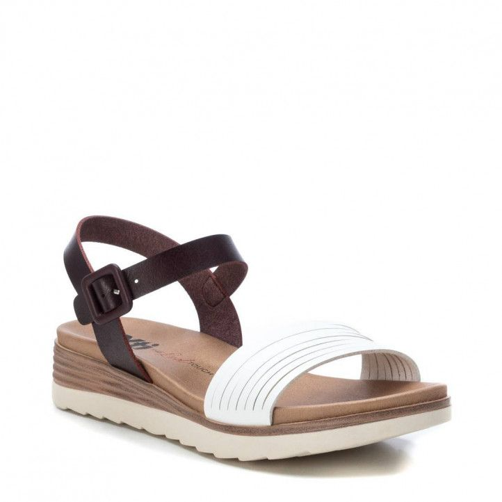 Sandàlies falca Xti blanques i marrons amb sivella - Querol online
