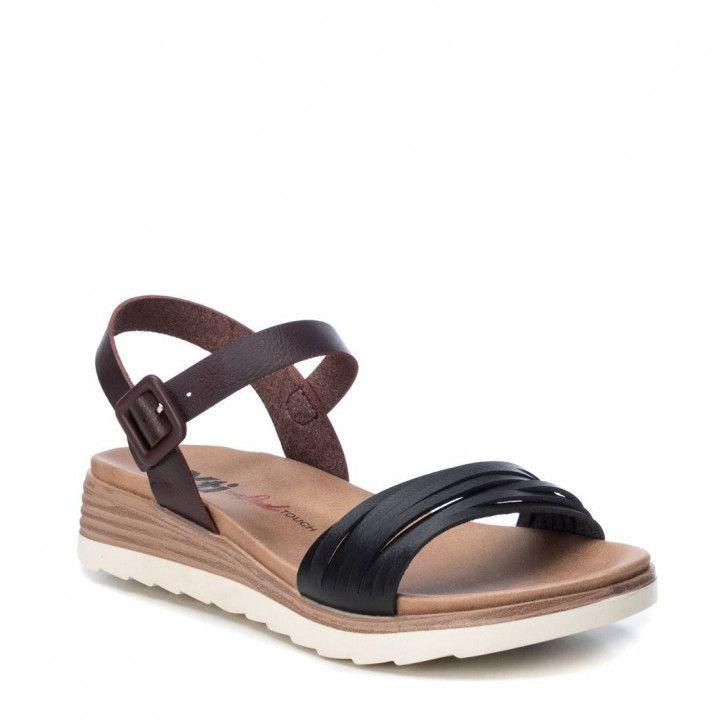 Sandàlies falca Xti negres i marrons amb sivella - Querol online