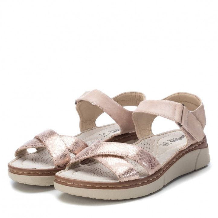 Sandàlies plataformes Xti roses amb tanca de velcro i sola de pell - Querol online