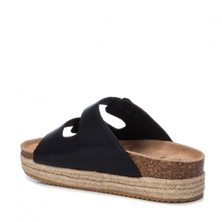 Sandàlies plataformes Xti negres obertes amb doble tira i sivella - Querol online