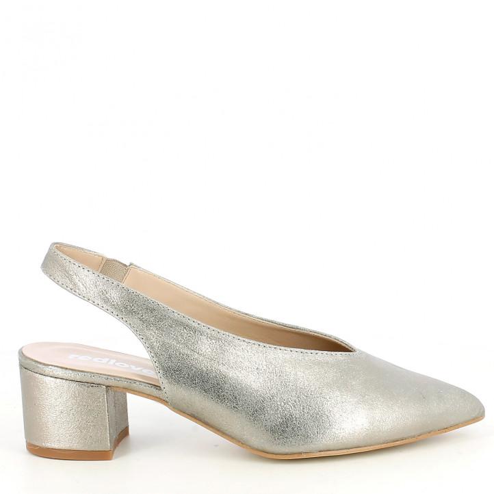Zapatos tacón Redlove gris metalizado de punta con elástico en el tobillo - Querol online