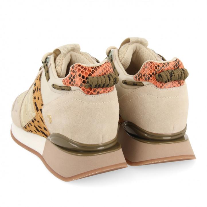 Zapatillas deportivas Gioseppo marrones con detalles verdes y naranjas de diferentes texturas - Querol online