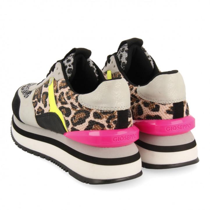 Zapatillas deportivas Gioseppo negras y grises de plataforma con detalles animal print - Querol online