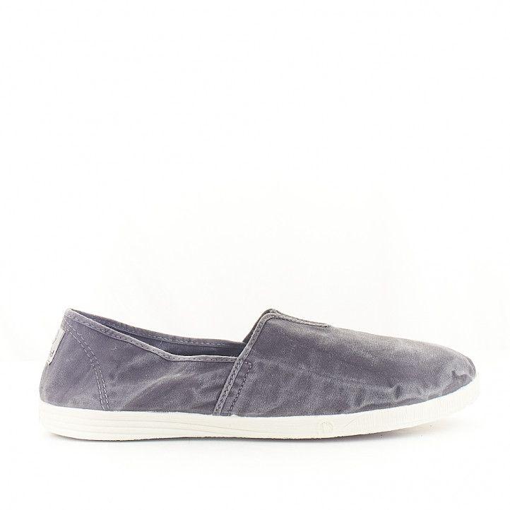 Zapatillas lona NATURAL WORLD negra efecto desgastado - Querol online