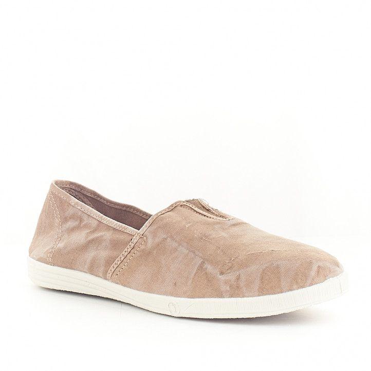 Zapatillas lona NATURAL WORLD marrón efecto desgastado - Querol online