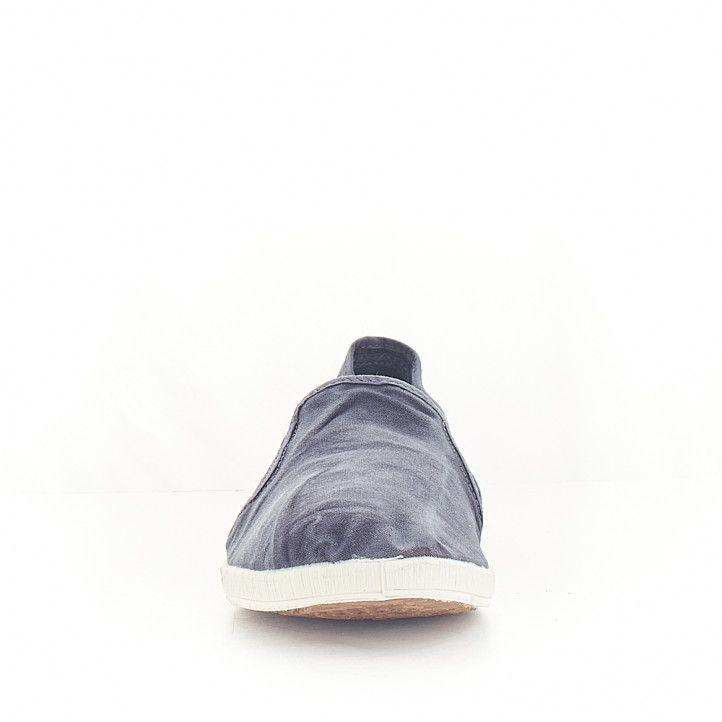 Zapatillas lona NATURAL WORLD azul con gomas laterales - Querol online