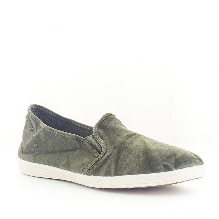 Zapatillas lona NATURAL WORLD verde con gomas laterales - Querol online