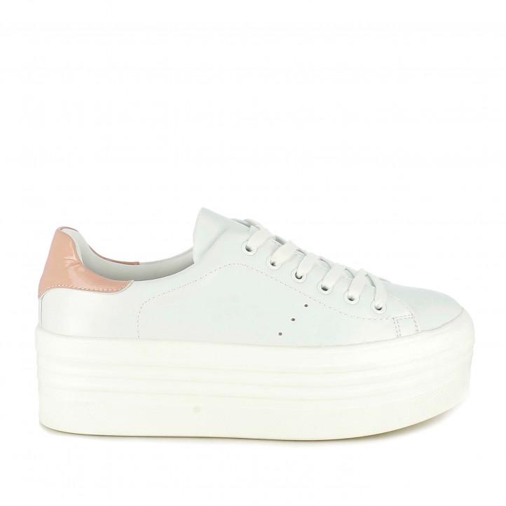 Zapatillas deportivas Owel blancas de plataforma y detalle rosa - Querol online