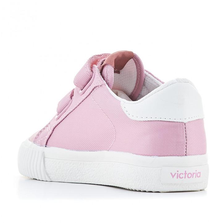 Sabatilles lona Victoria roses amb detalls en blanc - Querol online