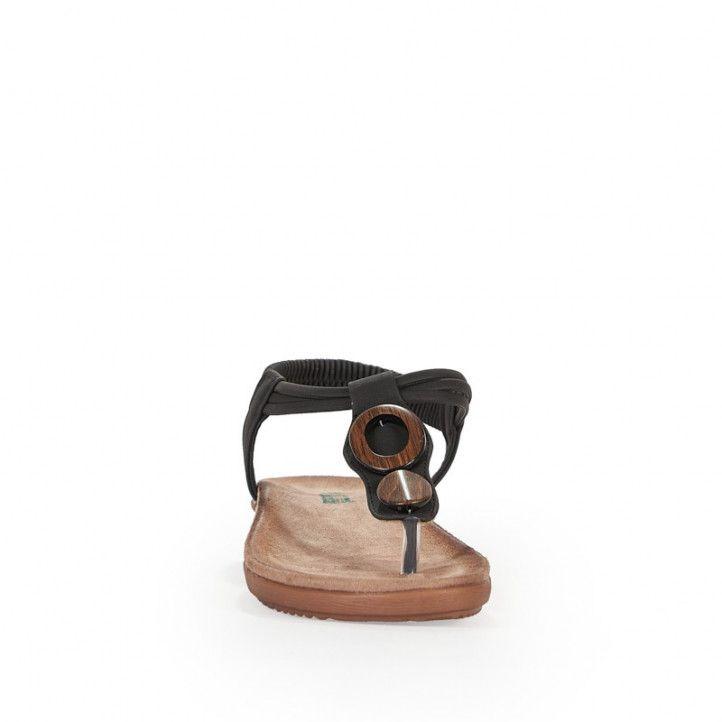 Sandalias planas Amarpies con tira central negra y detalle en madera - Querol online