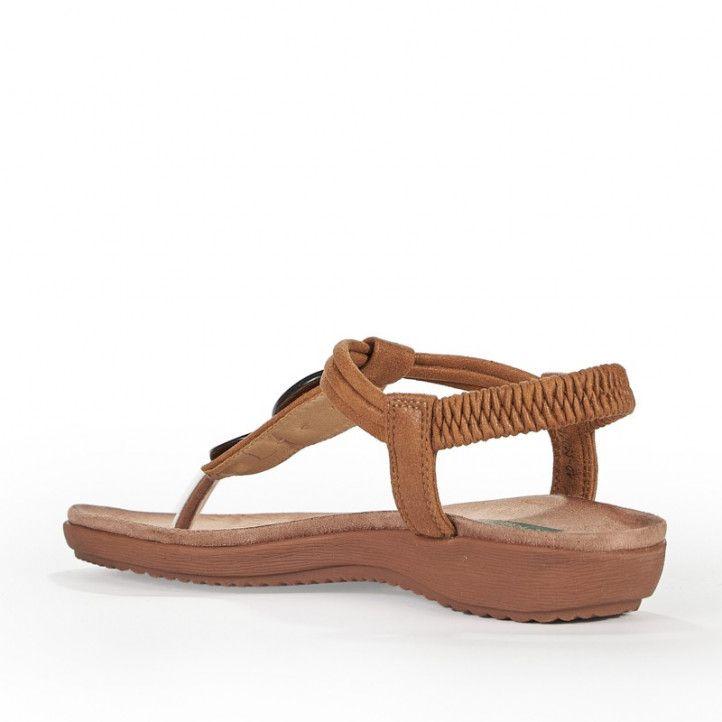 Sandalias planas Amarpies con tira central marrón y detalle en madera - Querol online