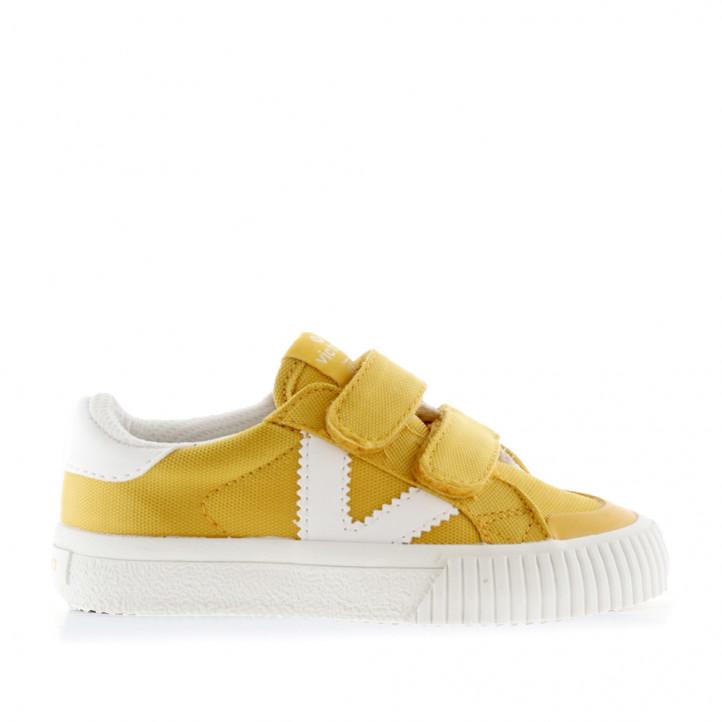 Zapatillas lona Victoria amarillas con detalles en blanco - Querol online