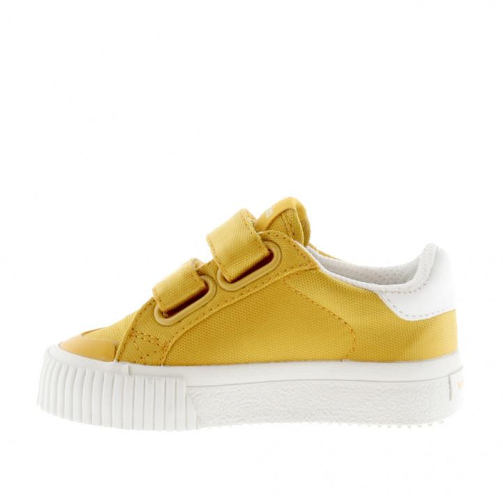 sabatilles lona Victoria grogues amb detalls en blanc - Querol online