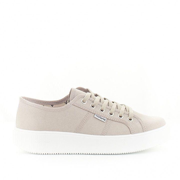 Zapatillas lona Victoria con plataforma grises - Querol online
