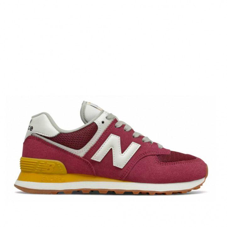 Zapatillas deportivas New Balance 574 burdeos y amarilla - Querol online